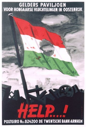 The Hungarian national flag with the emblem of Soviet authority torn from its center became the primary symbol of the 1956 uprising in Hungary. This poster illustrates the response of free countries to the plight of Hungarian citizens.