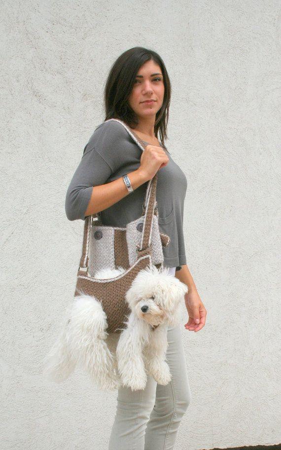 Pet carrier / Crochet dog carrier / Dog sling carrier by BubaDog