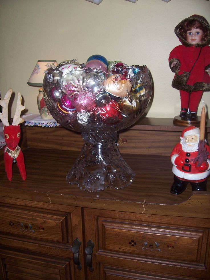 Mom's punch bowl and ornaments Christmas 2015 CHC