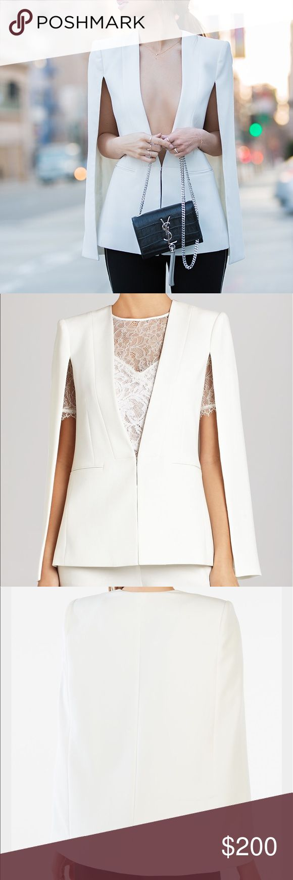 """BCBG MAX AZRIA • NWOT • """"Upas"""" cape blazer New without tag. White Upas BCBG Max Azria blazer cape. Super chic, sophisticated, and unique blazer / cape. Purchased from a local BCBG MAX AZRIA store. I never wore it. I'm not trading at this point. Thanks for looking  BCBGMaxAzria Jackets & Coats Blazers"""