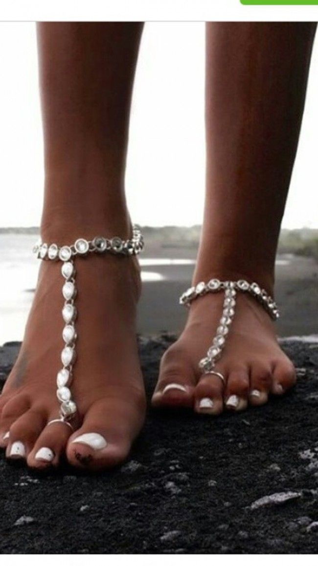 Silver tone anklet pair payal with toe ring feet bracelet gypsy tribal