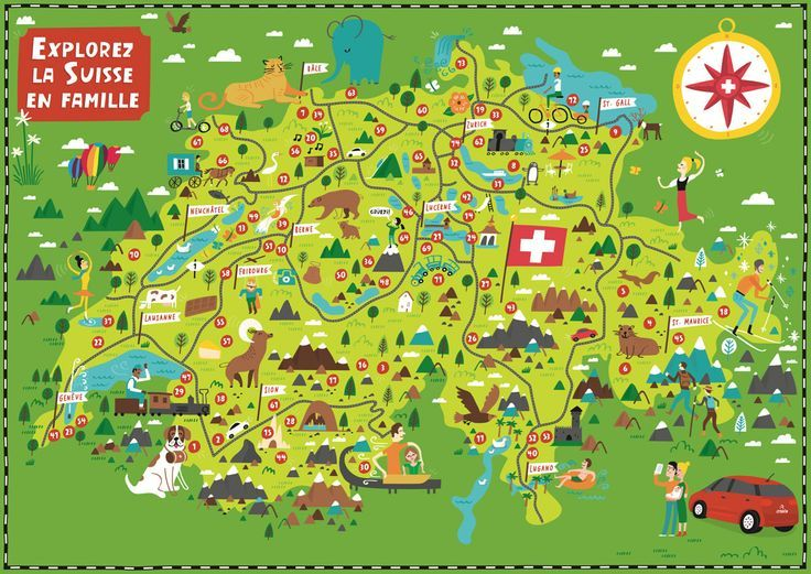 Travel Infographic Illustrated Map Of Switzerland For Citroen By