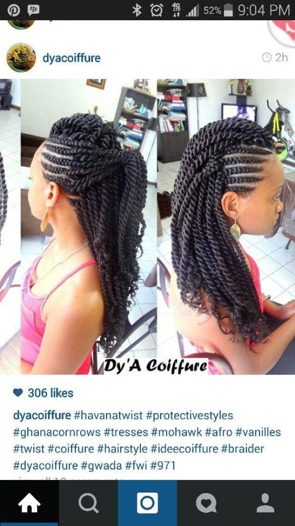Big Ghana braids, banana cornrow style