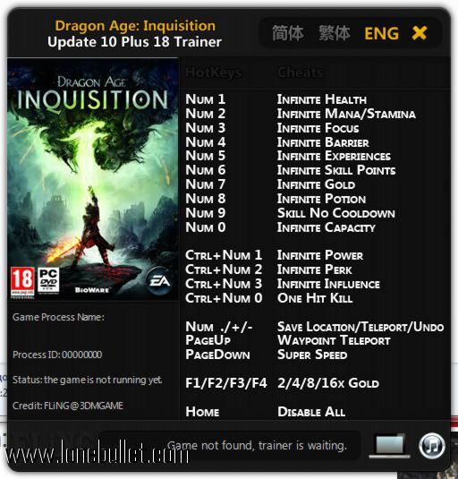 Download Dragon Age Inquisition  13 Trainer for the game Dragon Age Inquisition. You can get it from LoneBullet - http://www.lonebullet.com/trainers/download-dragon-age-inquisition-13-trainer-free-2410.htm for free. All countries allowed. High speed servers! No waiting time! No surveys! The best gaming download portal!