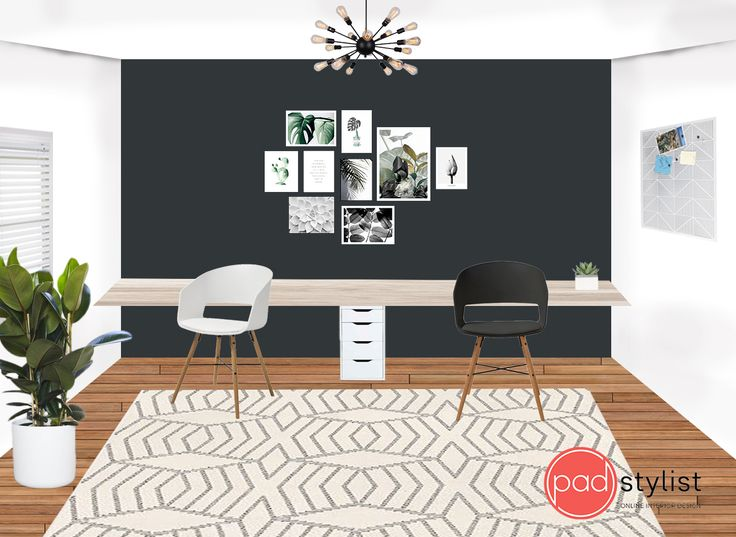 This home office design mixes sophisticated monochrome scheme with green accents. The botanicals themed gallery wall creates relaxing working environment.