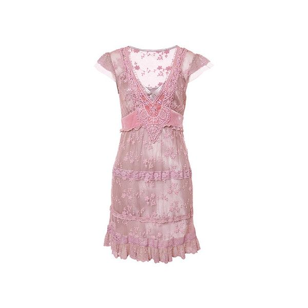 (345 MXN) ❤ liked on Polyvore featuring dresses, pink, vestidos, robe and pink dress