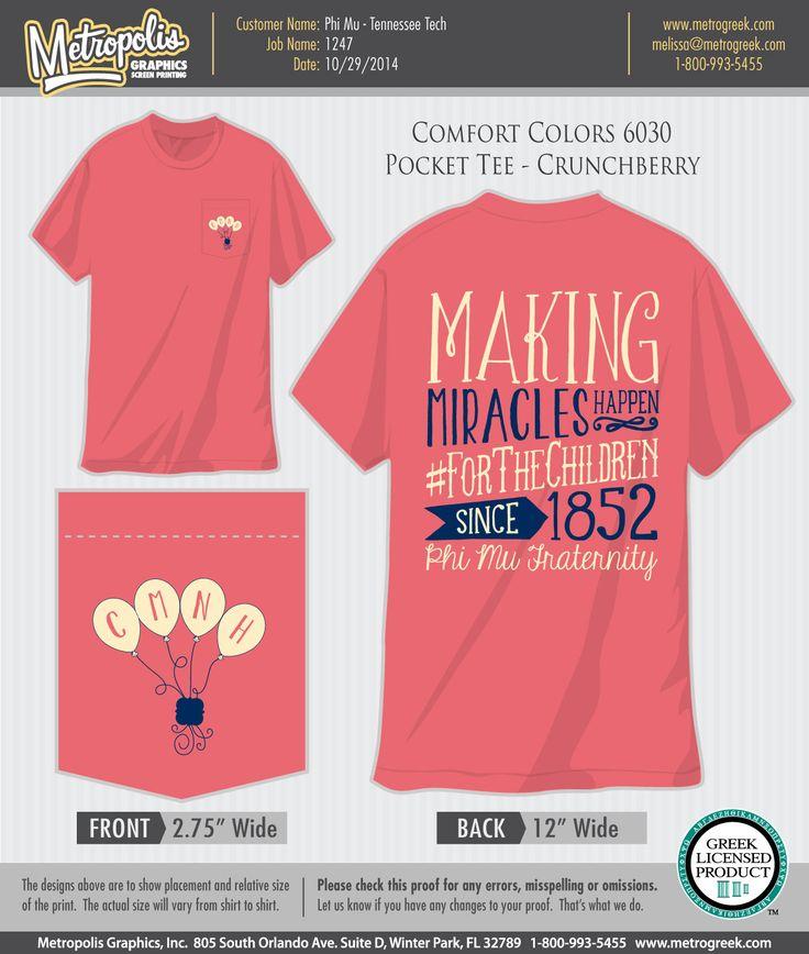 Children's Miracle Network T-shirt Phi Mu #PhiMu #CMN #CMNH #Philantrhopy #ChildrensMiracleNetwork