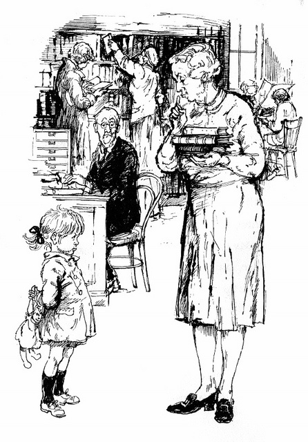 SHIRLEY HUGHES. My Naughty Little Sister.  With a very stereotypical librarian. Love her illustrations but this makes my skin crawl a little.