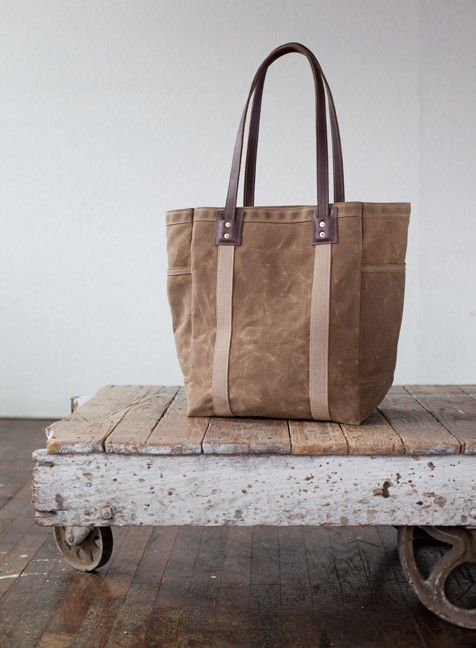 No 105 Tote in Waxed Canvas by ArtifactBags on Etsy. , via Etsy.