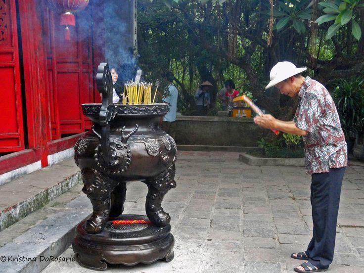 Worship at Red Temple in Hanoi, Vietnam