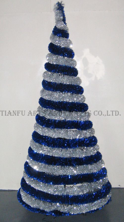 blue and silver Tree ... with mini garland and mini trees, perhaps?