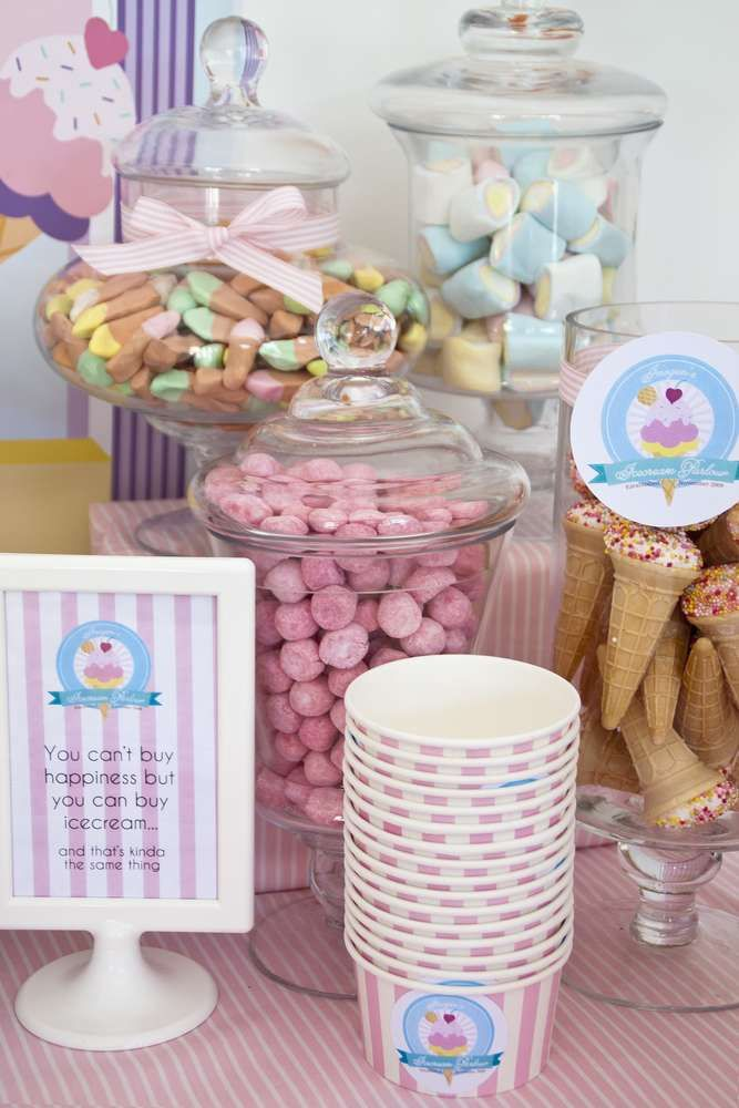 Candy at an ice cream birthday party! See more party planning ideas at CatchMyParty.com!