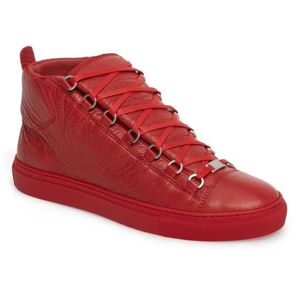 Men's Balenciaga Arena High Sneaker (12.885 ARS) ❤ liked on Polyvore featuring men's fashion, men's shoes, men's sneakers, rouge grenade, mens metallic shoes, mens shoes, mens shiny shoes, balenciaga mens shoes and mens sneakers