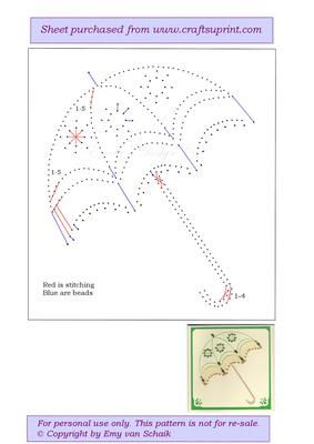ED068 Parasol on Craftsuprint designed by Emy van Schaik - Stitching with beads - Now available for download!