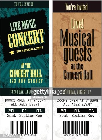 Oltre 25 fantastiche idee su Concert ticket template su Pinterest - concert ticket invitations