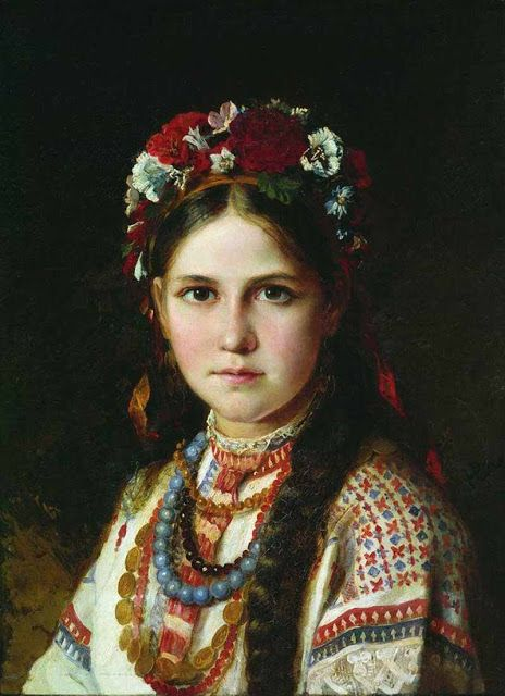 Ukrainian girl by Nikolay Rachkov from the 2nd half the 19th c.