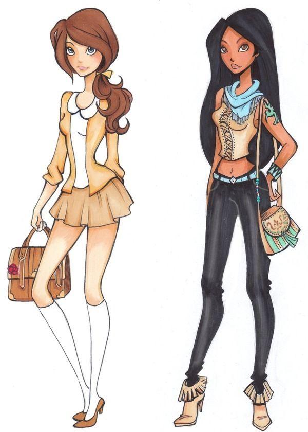 A Nina-D-Lux fez ilustrações das Princesas Disney como estudantes de High School (corresponde ao nosso Ensino Médio). Além dos desenhos, ela também criou uma história, adaptando as personalidades de cada uma. As personagens também tem sempre algum acessório que remete ao filme que pertencem, por exemplo a Bela que tem uma rosa como broche na bolsa e a Ariel com a espinha de peixe na calça. As roupas são moderninhas, coloridas e charmosas (bem diferente do...