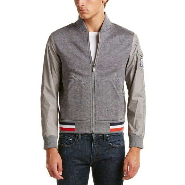 Moncler Cotton-Blend Bomber Jacket ($840) ❤ liked on Polyvore featuring men's fashion, men's clothing, men's outerwear, men's jackets, grey, sweaters, mens gray leather jacket, mens lightweight jacket, mens grey bomber jacket and mens lightweight bomber jacket