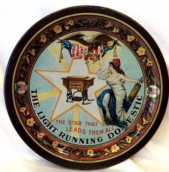 The Light Running Domestic Sewing Machine Star Advertising Tip Tray Eagle Flag  #DomesticSewingMachine