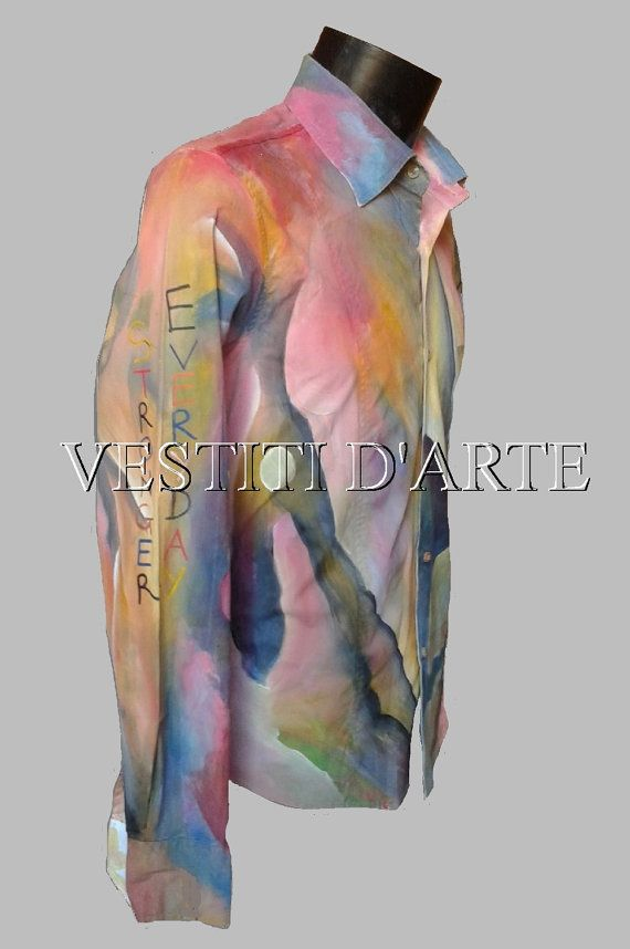 HAND PAINTED SHIRT mens shirts unique mens gift by Vestitidarte
