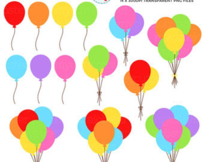 Arco iris partido globos imágenes prediseñadas Set de - clip art de fiesta, globos, arco iris - personal uso, pequeños comerciales, descarga inmediata