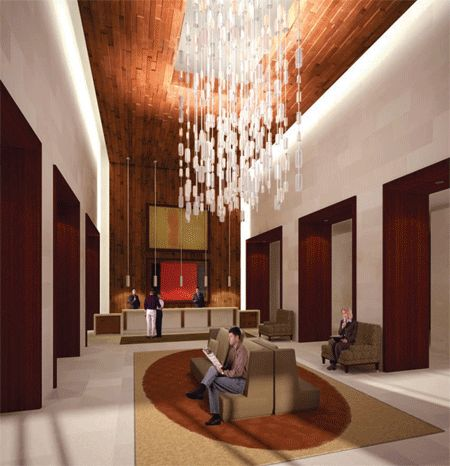 Modern hotel lobby interior design with hanging lamp for Modern hotel decor