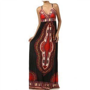 African Dashiki Print Maxi Dress The Ansu Dress - Zabba Designs African Clothing Store  - 1