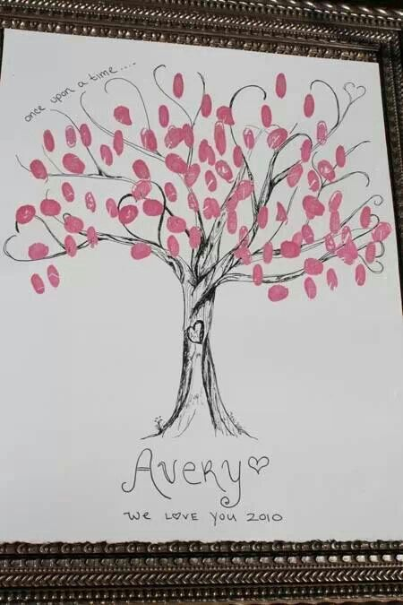 Baby shower idea. design of the tree, but green leaves