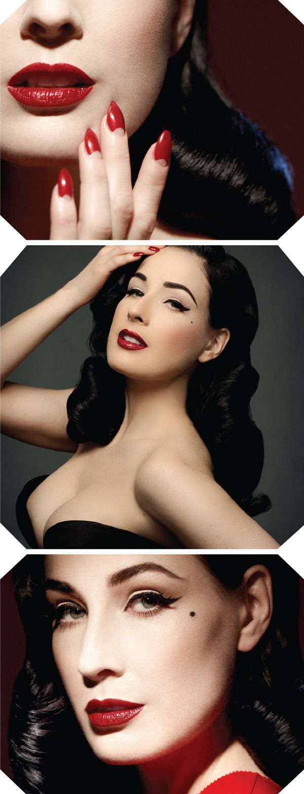 BIG NEWS. Dita von Teese is launching her own makeup line. The eyeshadow is neutral, the lipstick red, red and red and the eyelashes, gloriously fake.