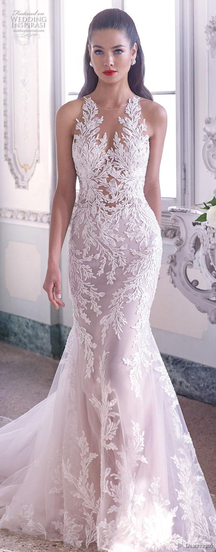 demetrios 2019 bridal sleeveless v neck full embellishment elegant glamorous fit…
