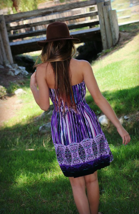 Boho Purple Short Dress Purple Striped Dress Gypsy by analiogi