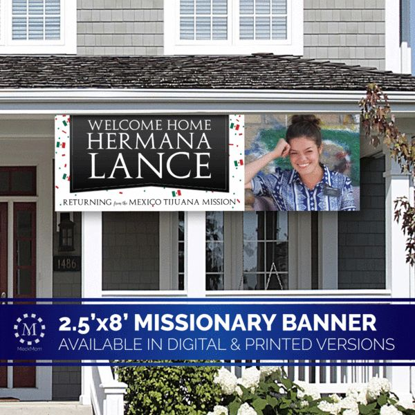 Giant Missionary Welcome Home Banner Horizontal Confetti Design-Banner-MeckMom