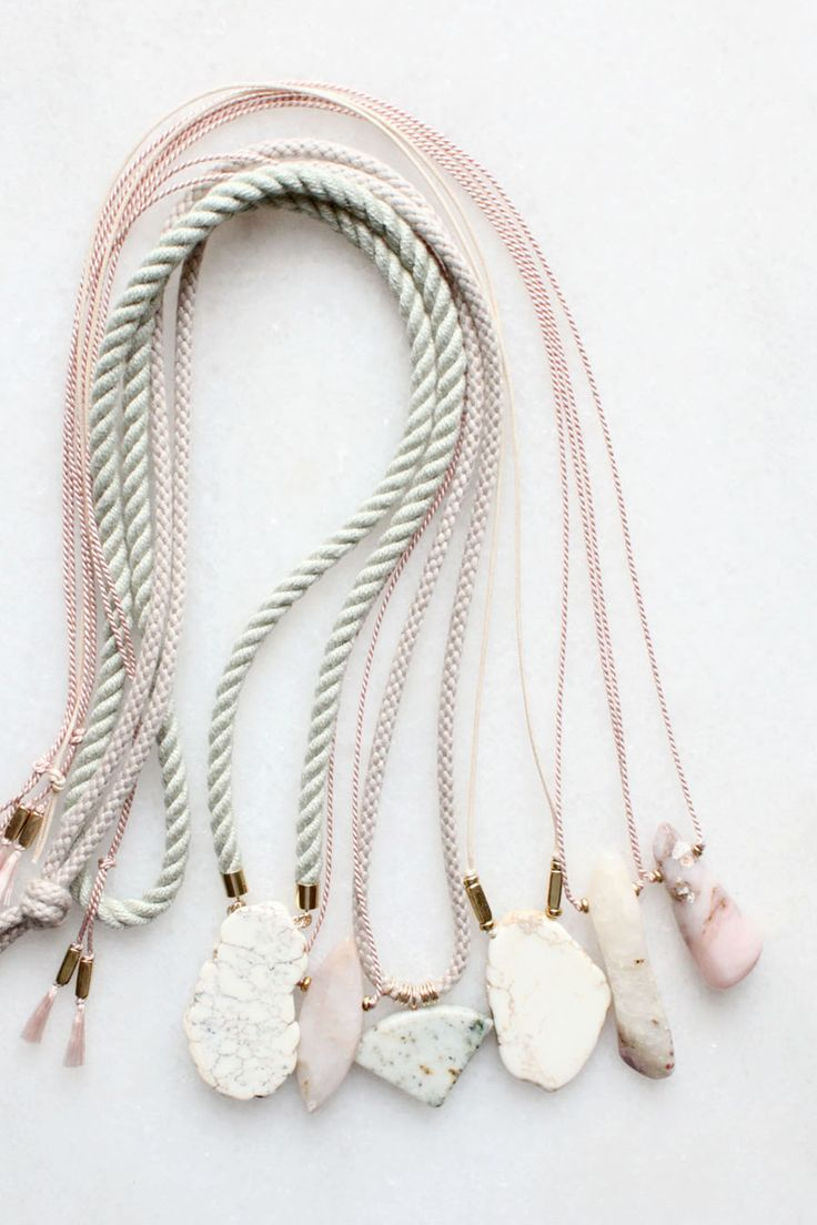 Marble, magnesite and pink opal necklaces