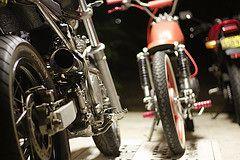 818 (ljblk) Tags: canon honda garage shed workshop motorcycle suzuki custom vtr250 xr600 40d gs125