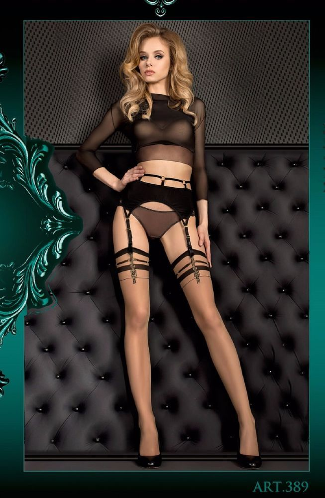 Stockings in Black and Skin  with a buckle like design effect at the top of the  #Ballerina #Stockings #Glamour