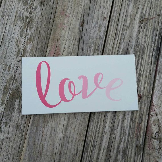 This hand painted Love sign is perfect for both Valentine's decor and year round decor. Sign by TheWoodenTriangle and available for $12 on Etsy. Check out this item in my Etsy shop https://www.etsy.com/listing/217865351/hand-painted-ombre-love-wood-sign