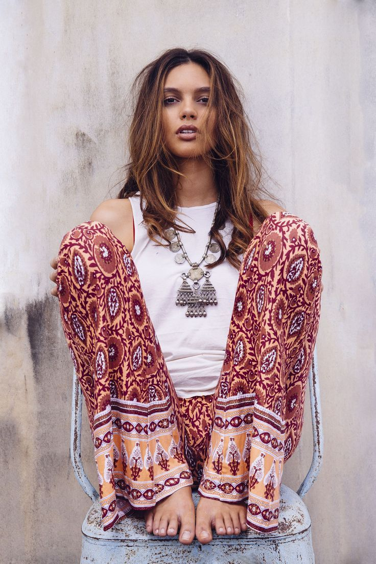 Boho chic modern hippie palazzo pants and gypsy necklace