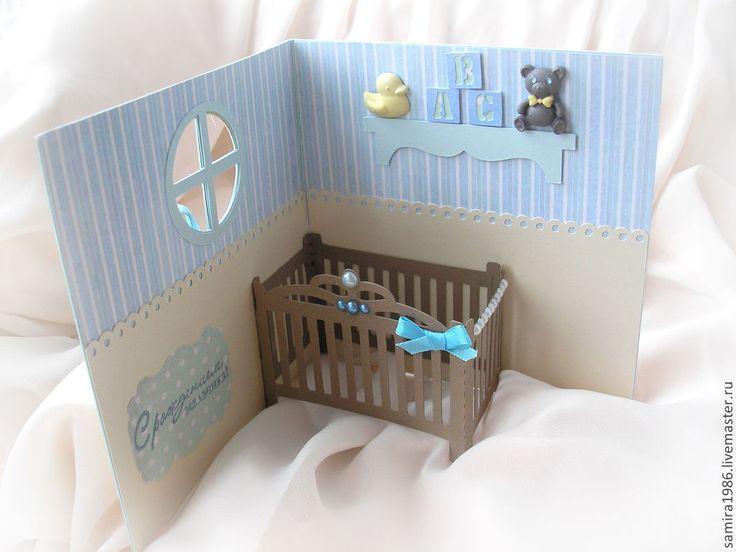 Купить Комната малыша - голубой, для мальчика, детская открытка, с рождением малыша, С новорожденным, мальчик