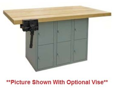 Hann L5 Two Station Steel Base Workbench With 6 Vertical Lockers 28 x 64 l Affordable Science Tables & Hann Products