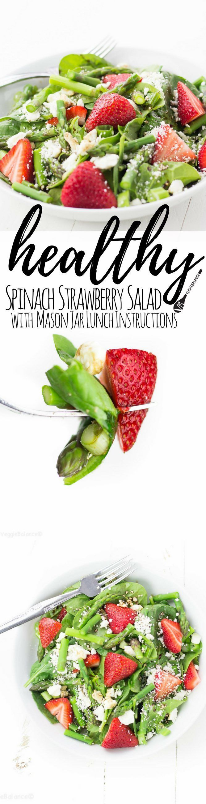 Step into summer with this fresh Strawberry Spinach Salad with Asparagus. A few beautiful and healthy ingredients blended together over a bed of spinach than drizzled with balsamic vinaigrette. (Gluten-Free, Vegan friendly)