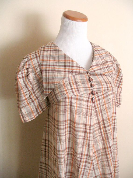 1960s Maternity Dress / Plaid Housedress with Collar by miskabelle $36