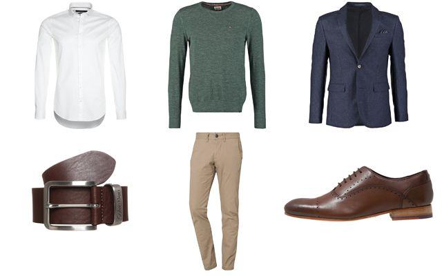 Ugens herremode outfit: En lækker grøn pullover sat sammen med en elegant marineblå blazer, der nydeligt bliver brudt af den hvide skjorte