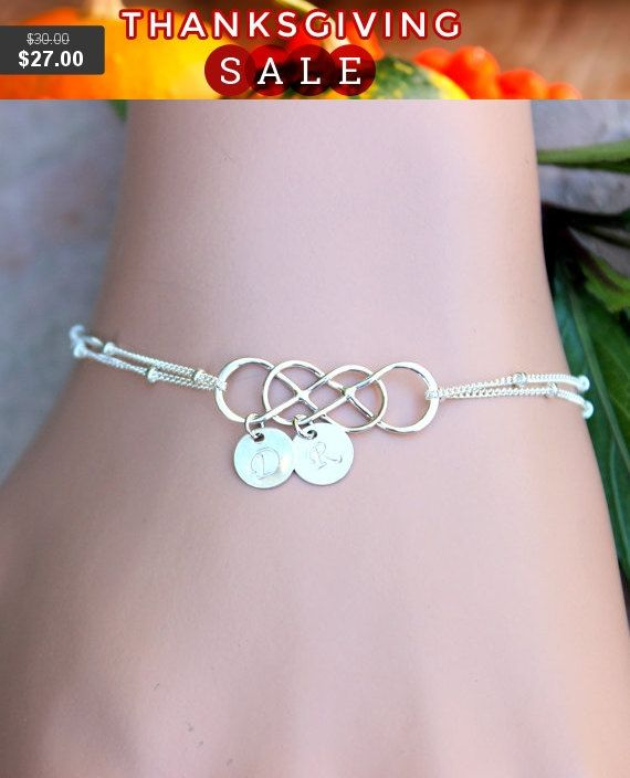 PERSONALIZED INITIAL  Please note for me when you check out (A-Z).    This sterling silver DOUBLE infinity bracelet, is made with hand stamped 7mm initial disc charms  The sterling silver version is 100% sterling silver, and is nickel free.    ALL MERTARIAL IS STERLING SILVER.  DOUBLE INFINITY  7MM DISC  SATELLITE CHAIN       All items come wrapped individually in a ribboned gift box. | Shop this product here: spree.to/a7zh | Shop all of our products at http://spreesy.com/iyellow…