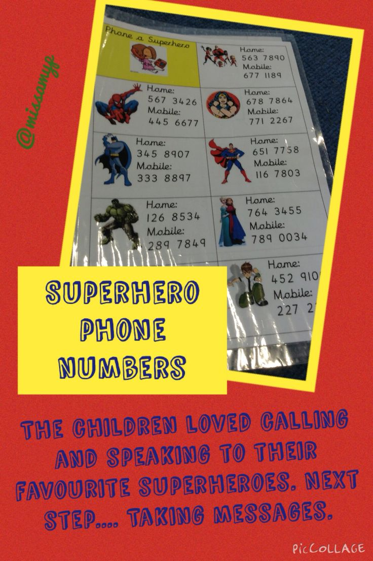 Phoning the Superheroes. Number recognition and speaking & listening. (Missamyp)
