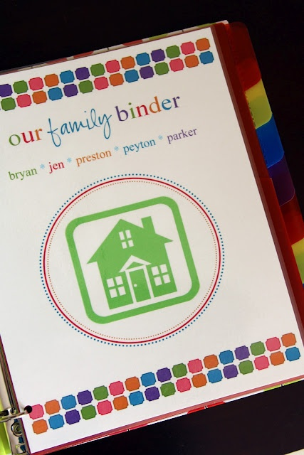 Some great ideas for a household binder: school flyers, contact info for doctor's dentists, insurance policy numbers, could add list of recent appointments and outcomes, a baseball card sleeve for repairmen business cards, a home cleaning checklist in laminate, home maintenance for air filters etc, auto maintenance, a place for cards for birthdays and a birthday list, coupons for eating out.