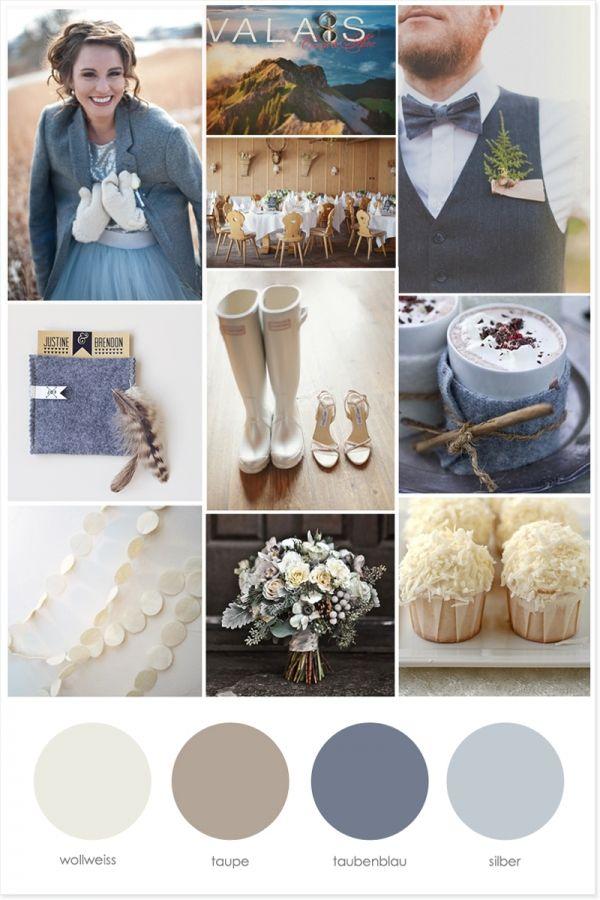 Hochzeit Winter Schnee Wallis Bergen Moodboard
