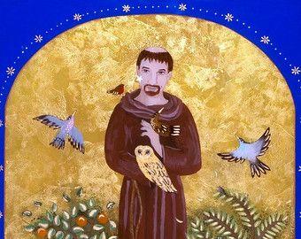 St Francis of Assisi Art Print, Valentines Day Gift, St Francis Art, Catholic Art, Gift under 30, Franciscan, Saint Art