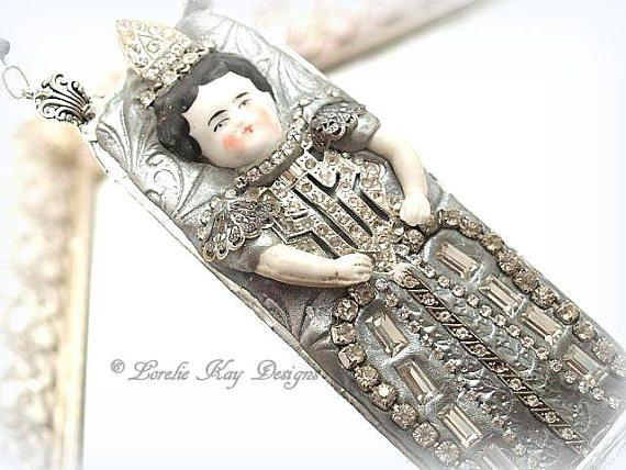 Queen Wilhelmina Necklace Wearable Art Doll Pendant OOAK