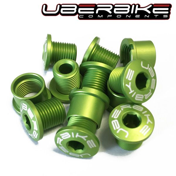 Uberbike Double/Triple Chainring Bolt Kit 7075 Alloy - Green