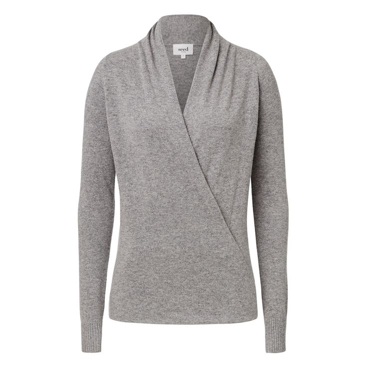 Wool blend Wrap Over Knit Sweater. Comfortable fitting silhouette features a front v-neck with wrap over front body and long sleeves in an all over fine knitted fabrication. Available in various colours as shown.